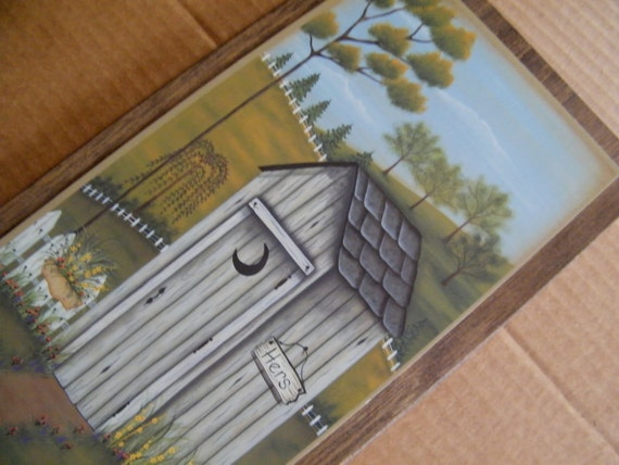 Wood Country Vintage Bathroom OUTHOUSE Wooden HERS Wall Art Decor Sign