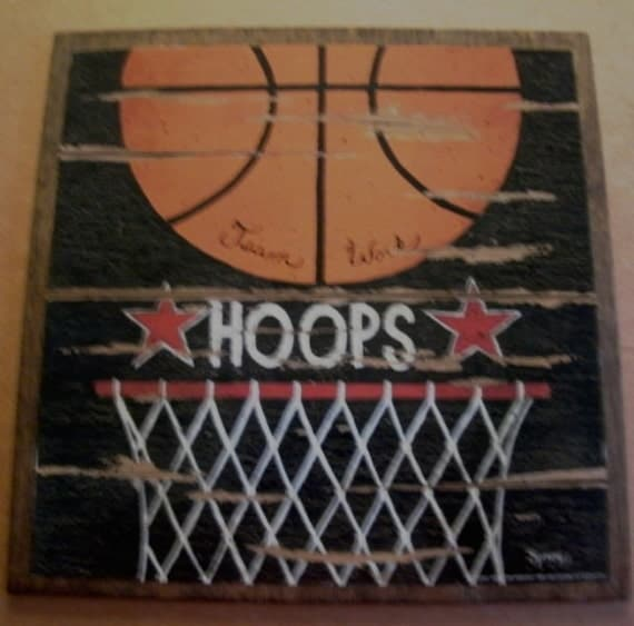 BASKETBALL Hoops Ball Sports Retro Primitive Vintage Country Art Wall Room Sign