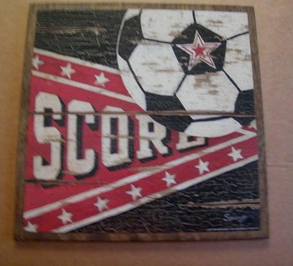 SOCCER Score Ball Sports Retro Vintage Man Cave Country Folk Art Art Wall Room Sign