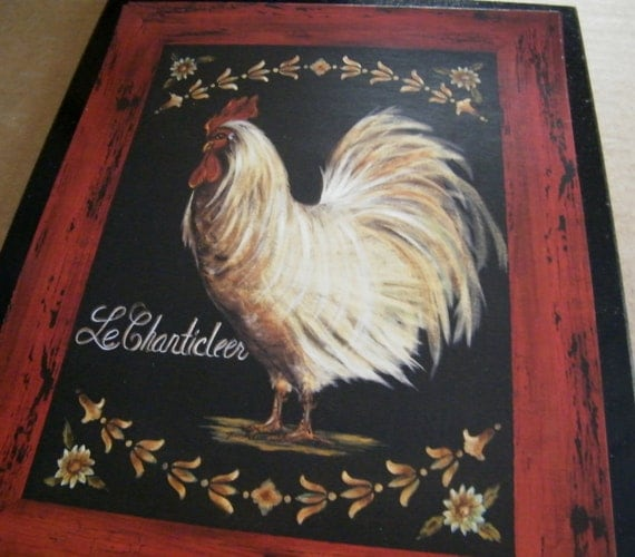 Chicken Rooster  Retro Primitive Country  KITCHEN Decor Sign Free Shipping