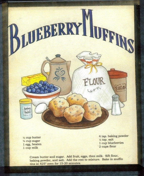 Retro Vintage Country Blueberry Muffin Recipe Sign Wood Wall