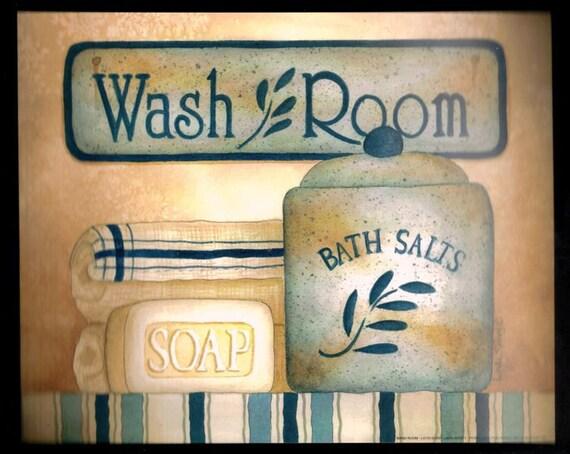 WASH ROOM Retro Vintage Shabby Primitive Bath Bathrooml Chic 9x11 Sign