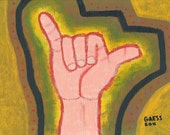 """Painting: """"shaka"""" acrylic on canvas board 9"""" x 12"""" in handmade solid wood picture frame."""