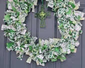 18 Inch Frayed Fabric St Patrick's Day Wreath