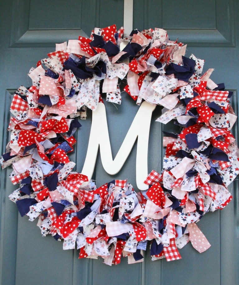 18 Inch Memorial Day Or 4th Of July Frayed Fabric Wreath