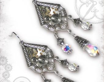 Crystal Steampunk Wedding Earrings - Za Dee Da - Time Traveller Collection -  A Window in Time Earrings