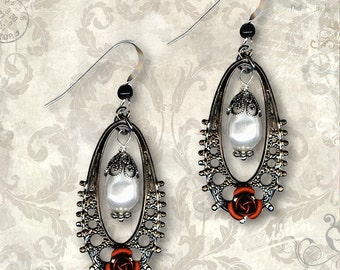 Goth Rose Earrings - Za Dee Da - The Crypt Keepers Collection - La Belle Gothique Earrings
