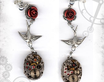 Red Rose Swallow Steampunk Earrings - Za Dee Da - The Time Traveller Collection - Time to Smell the Roses Earrings