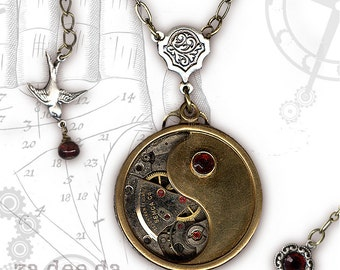 Yin and Yang Steampunk Necklace - Za Dee Da - The Mystic Seeker Collection - Time in Balance