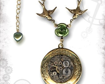 Rose Steampunk Golden Locket - Za Dee Da Time Traveller Collection - SpringTime in Love