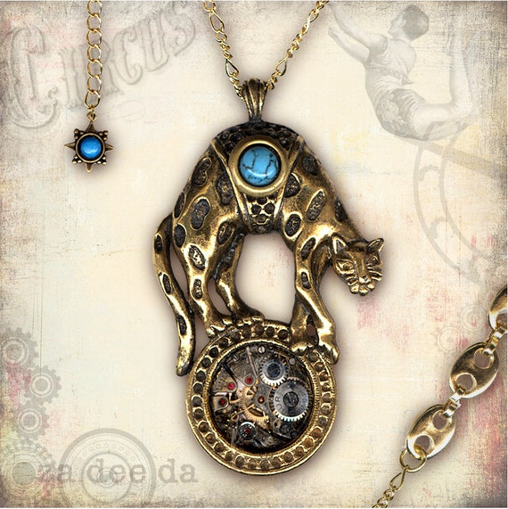 Circus Time Leopard Steampunk Necklace - Za Dee Da - The Flying Circus Collection