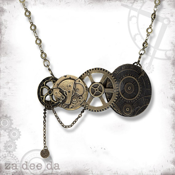 Gears Steampunk Necklace - Za Dee Da - The Inventor Collection - The Golden Gearz