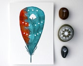 Feather Painting - Watercolor Art - Archival Print - Coral & Sea Feather