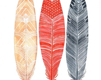Watercolor Feather Painting - Feathers Art - Archival Print - Red, Peach, Gray