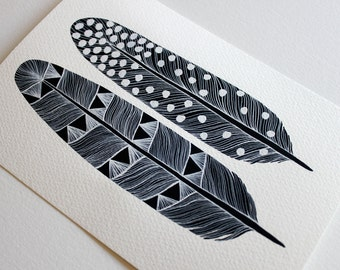 Feather Art Painting - Monochrome Watercolor Home Decor - Archival Print - Mika Feathers