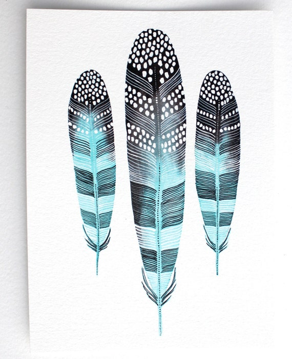 Feather Art, Watercolor Painting, Giclee Print, Archival Print - Taos Feathers