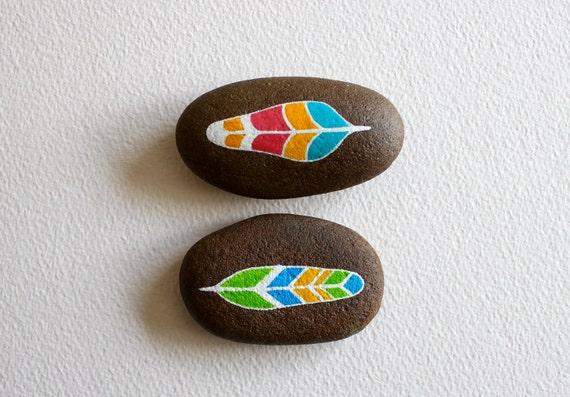 Painted Stones - Neon Rainbow Feathers - Original Art - Modern Home Decor