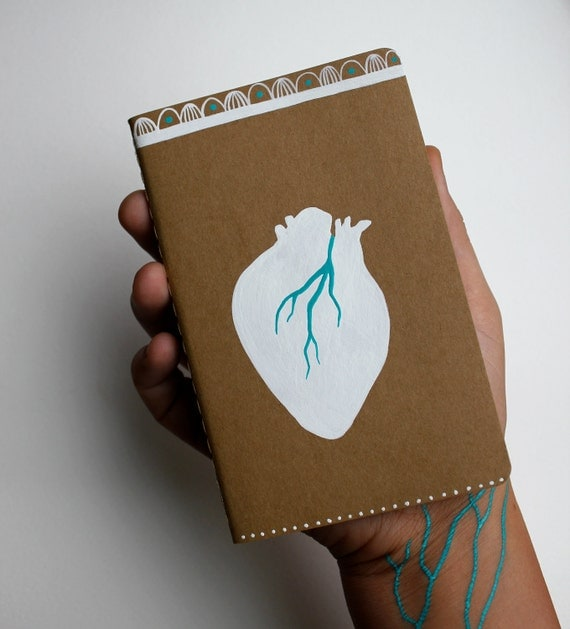 Notebook Journal Handpainted Heart - Anatomical Heart - Original Painting - Moleskine Cahier Notebook