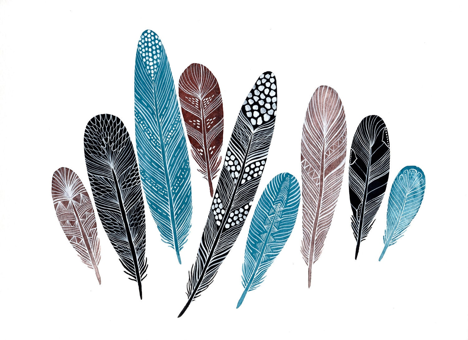 Jewels Feather Collection Large Archival Print by RiverLuna: https://www.etsy.com/listing/88177122/jewels-feather-collection...
