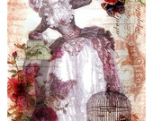 Digital Download Marie Antoinette with Cupcake Collage Portrait Mixed Media Print ATC ACEO