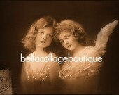 DiGItaL DoWNloAd ViNTagE FReNch PostCarD ChRistMaS Angels HoliDAy ATC Sized Sepia Collage Mixed Media Print
