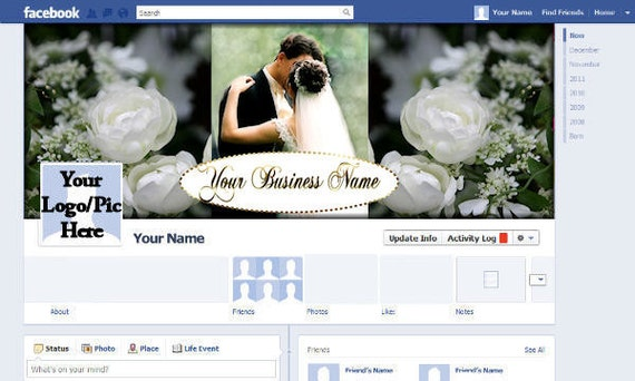 Facebook Timeline Cover Photo Profile Banner Premade Custom Digital Download FB Business Wedding Planner Photographer