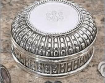 Large Round Beaded Jewelry Box - Monogrammed, Bridesmaid Jewelry Box, Flower Girl Jewelry Box