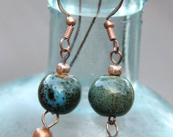 Bead & Freshwater Pearl on Copper Dangle Earrings FREE SHIPPING