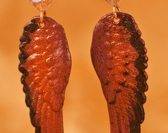 Edgy Plum Copper Angel Wings with Swarovski Crystal Earrings - Free Shipping