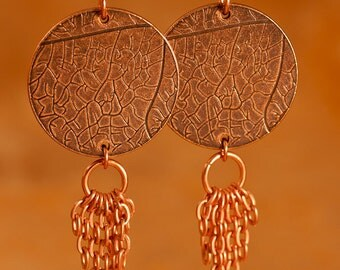 Copper Disc With Vintage Chain Dangle Earrings - FREE SHIPPING