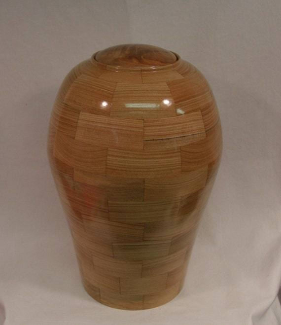 Cypress and Cherry Segmented Cremation Urn
