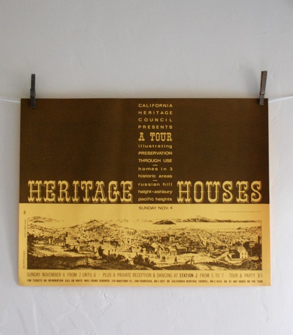 San Francisco Heritage Houses Tour - Vintage 1960s poster by Osborn Woods