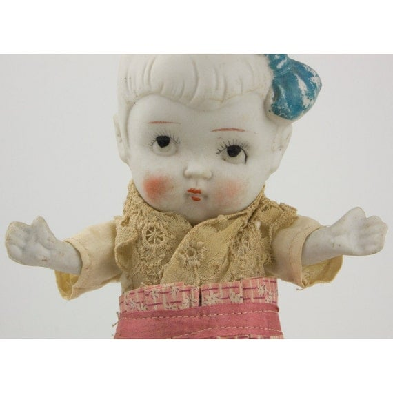 Vintage Very Large All Bisque Japan Porcelain Jointed Doll With Vintage Clothing & Fantastic Expression From Upwardly Glancing Googlie Eyes