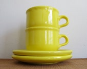 SALE - Vintage Waechtersbach Mugs - Bright Yellow Cup and Saucer Set - Pair  - West Germany