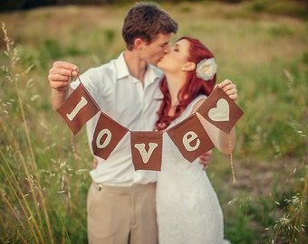 Custom fabric LOVE wedding banner, wedding, anniversary banner, rustic, wedding decor, bridal shower gift, anniversary gift