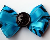 blue and black zebra bow - READY TO SHIP
