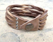 FREE SHIPPING - Leather Cuff - Gift Idea - Handmade - Rustic - Light Brown