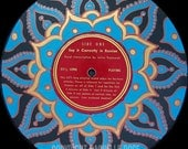 "UNUSUAL Hand Painted Vintage Abstract Retro Vinyl Record Album ""Mandala"""