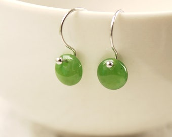 Round Green Jade Earrings - Green Dots - Sterling Silver