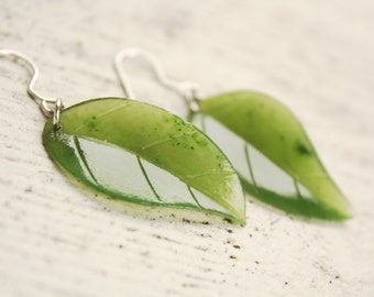 Green Leaf Earrings - Emerald Green Jade - Sterling Silver