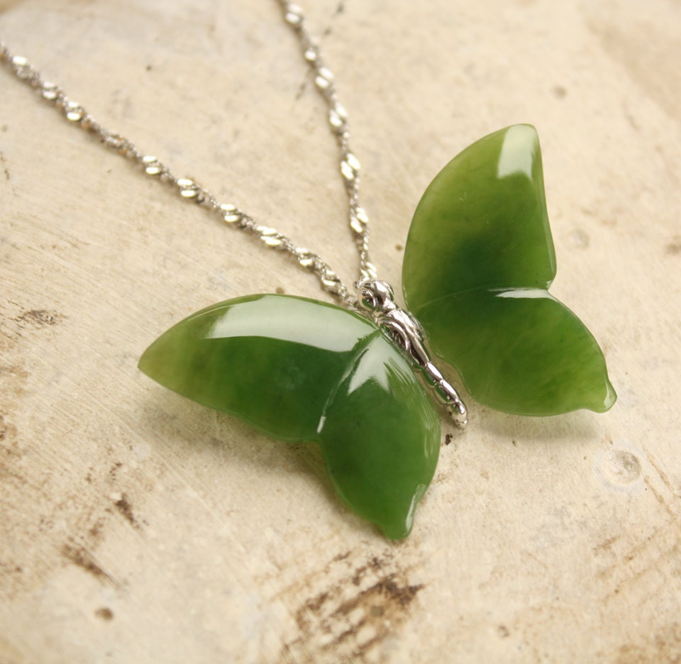 Butterfly necklace nephrite jade sterling silver hand for Pictures of jade jewelry