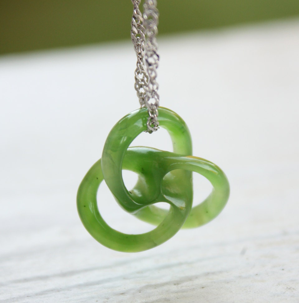 carved jade necklace knot mini circle of sterling