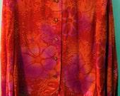 Retro Red Vintage Purple Hawaiian Flower Blouse/Shirt - Free Shipping