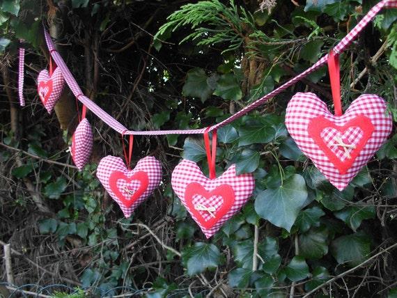 Gingham fabric heart garland