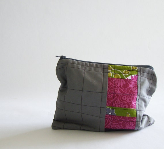 quilted makeup bag, pencil case, or art supply pouch - gunmetal grey cotton with fuchsia print and garden print patchwork stripe
