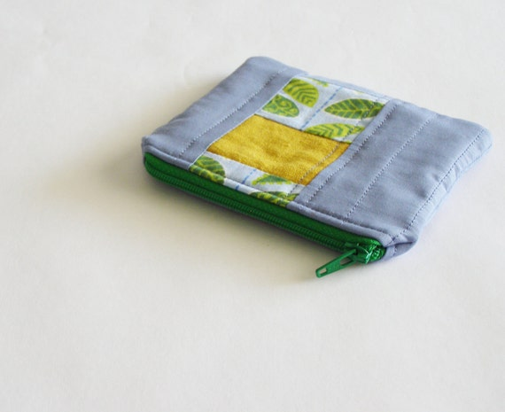 small quilted coin purse or pouch - sky blue with patchwork stripe- modern leaf pattern with mustard yellow