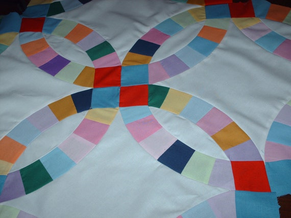 Double wedding ring quilt top Amish style