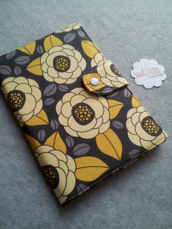 Kindle Fire Cover Kindle paperwhite cover Nook case eReader Cover Ipad Mini Book Style Yellow and Gray Bloom Custom order