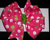 Pink Polka dot Pinwheel Hair Bow