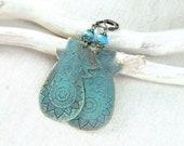 Copper  paisley earrings, green blue patina - RadhikaJewelry
